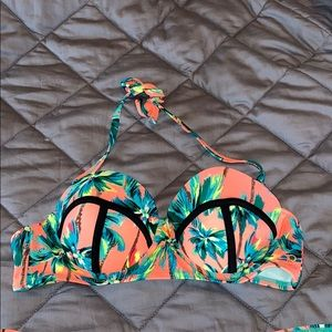 Palm Tree Print Bikini Top ONLY